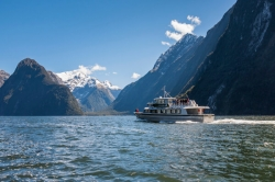 A Mitre Peak Cruises Boat Enjoying Milford Sound.